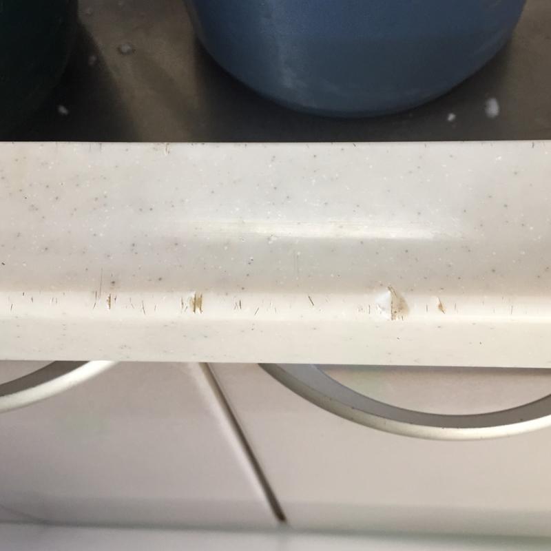 キッチン人工大理石の天板の欠け修理