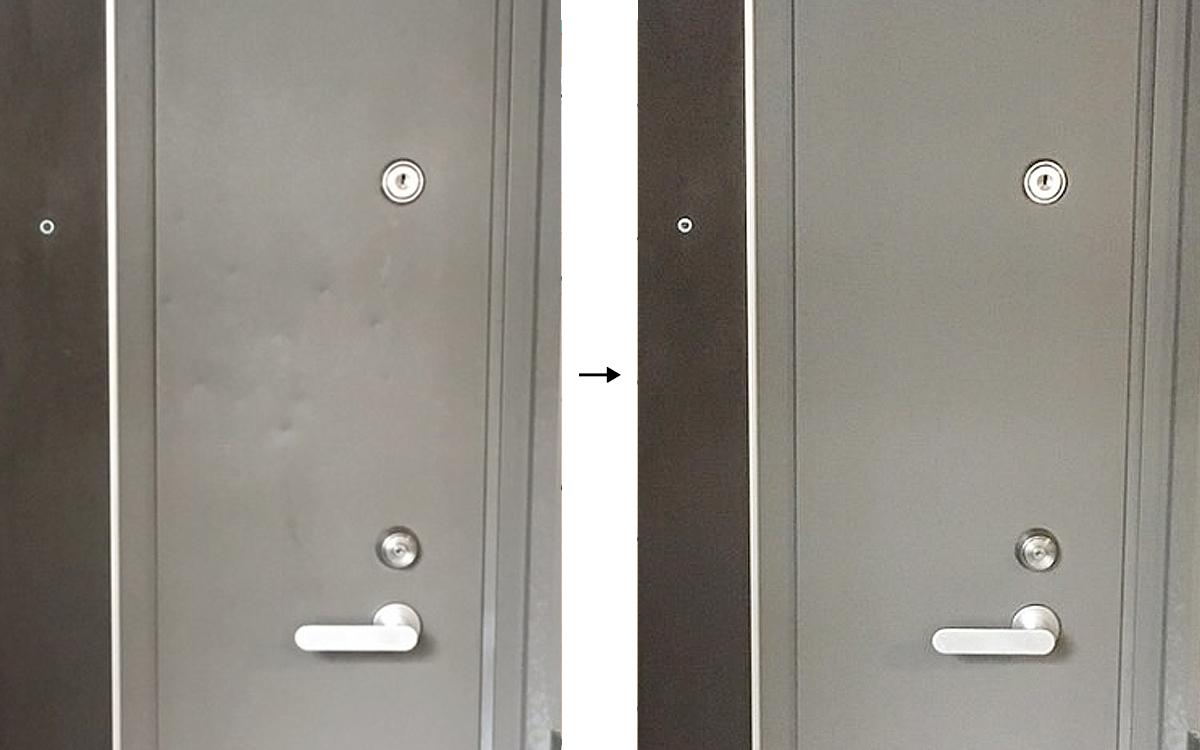 玄関ドアの凹み