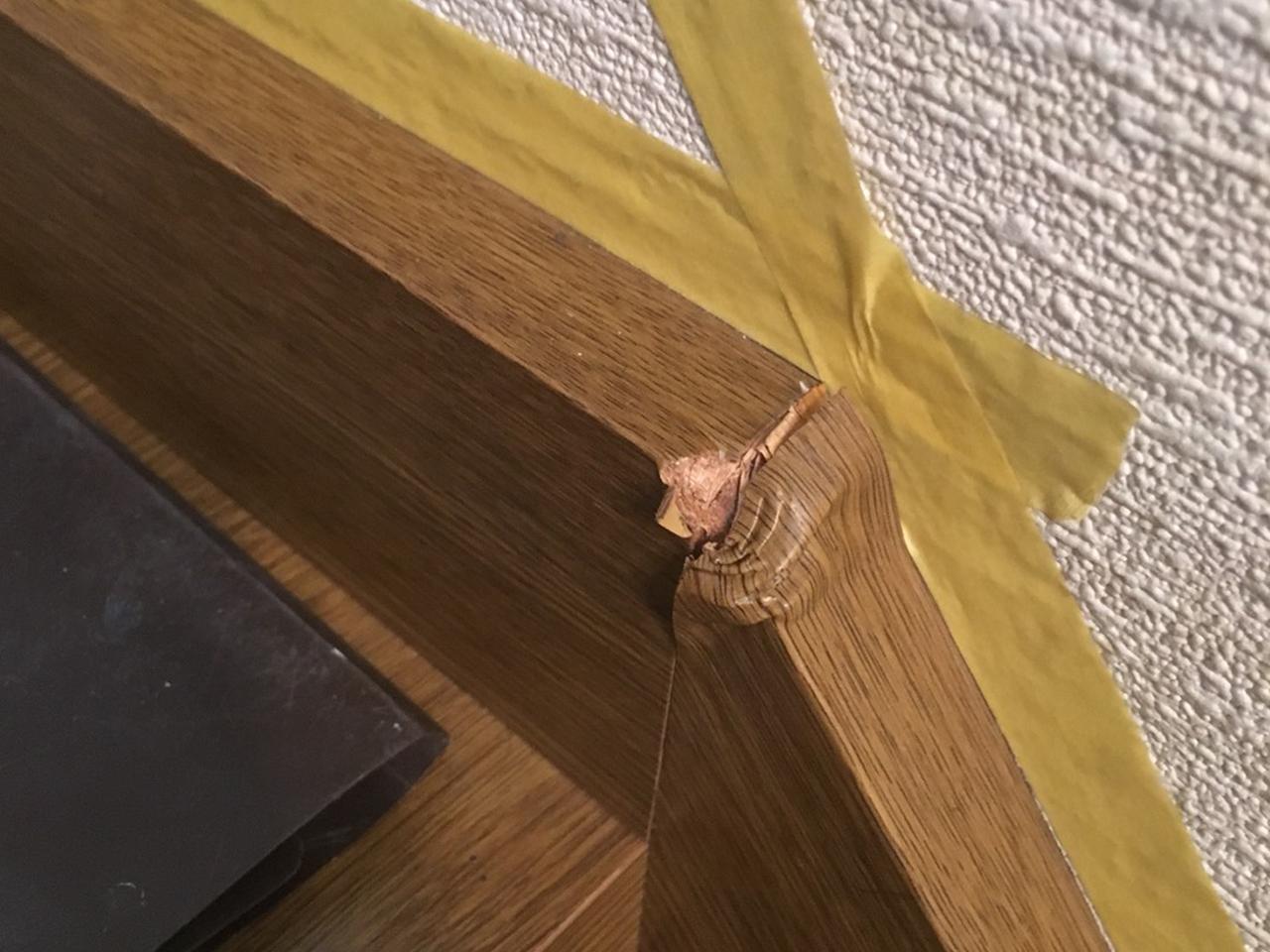 階段側板へこみ修理前