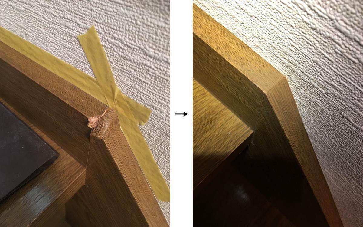 階段側板へこみ補修