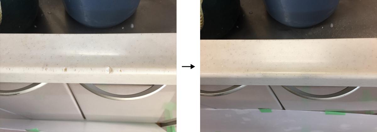 人工大理石のキッチン天板欠け補修