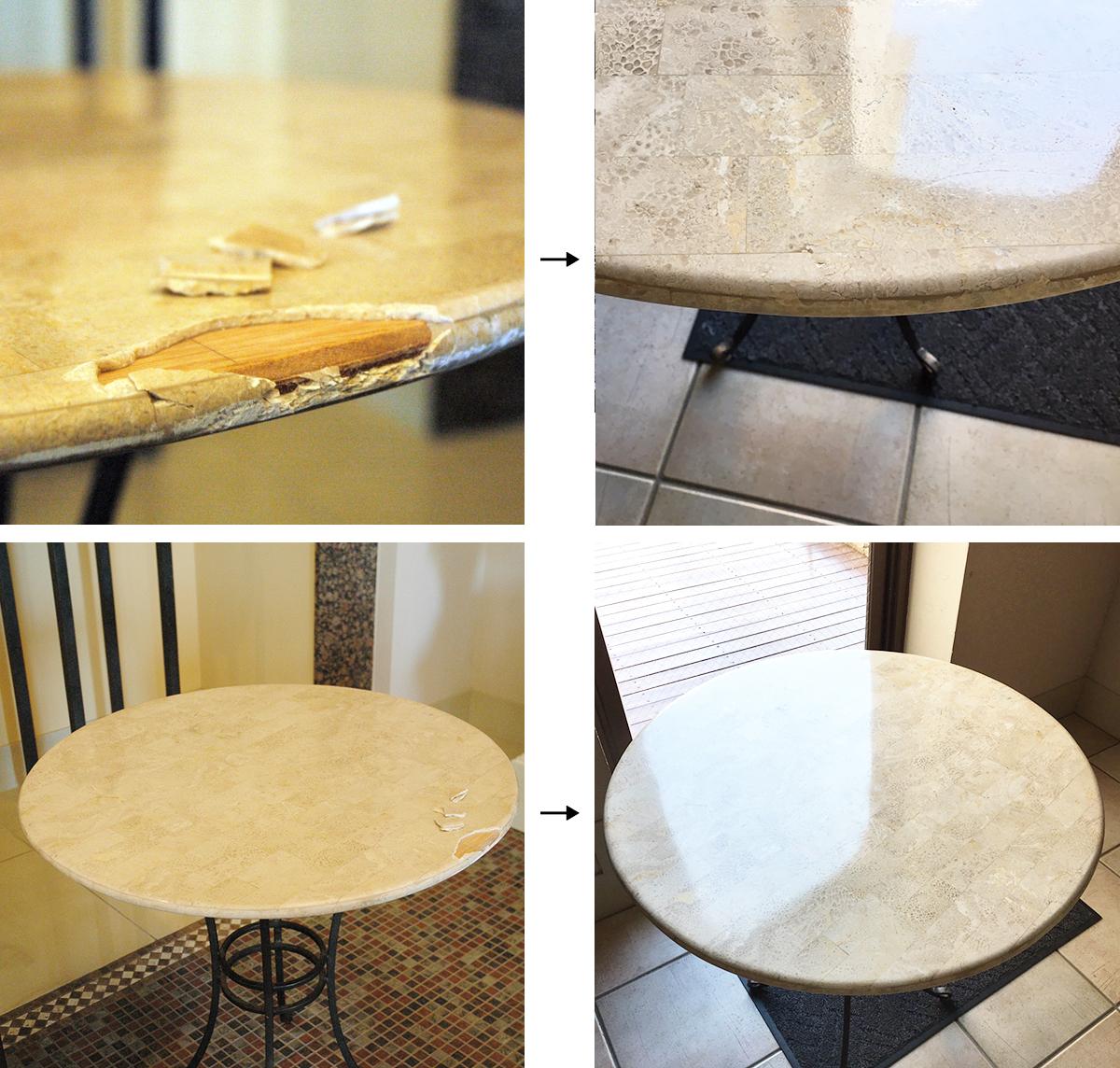 大理石テーブルの欠け