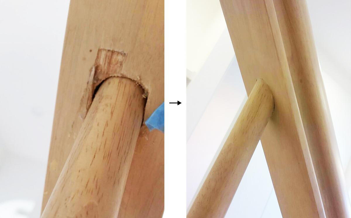 階段てすりの裏側のキズ穴_補修事例