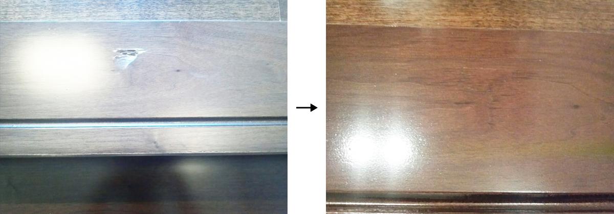 階段の上段框(かまち)のキズ ビフォーアフター