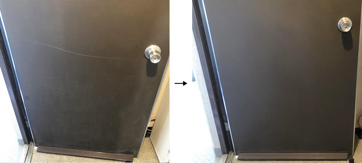 玄関扉の擦り傷ー補修事例