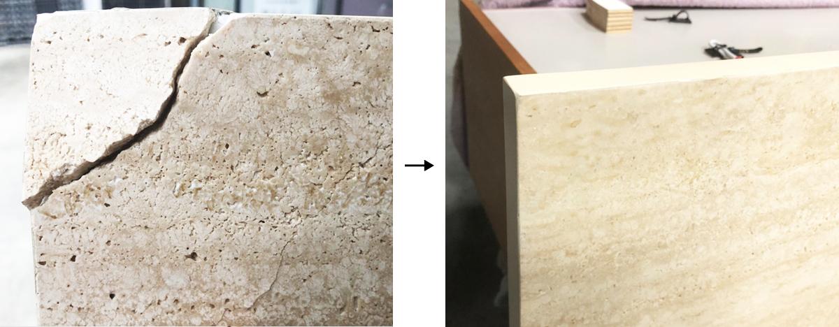 石の引き出しの割れ 補修事例