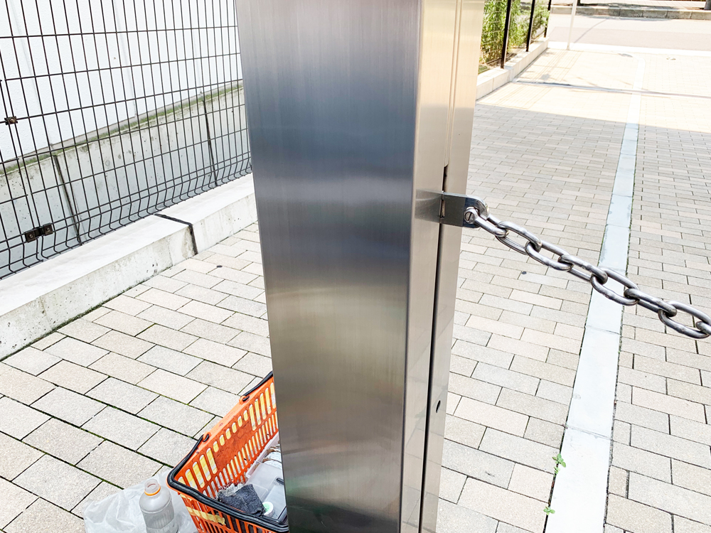 駐車場ゲートのステンレス補修後アップ