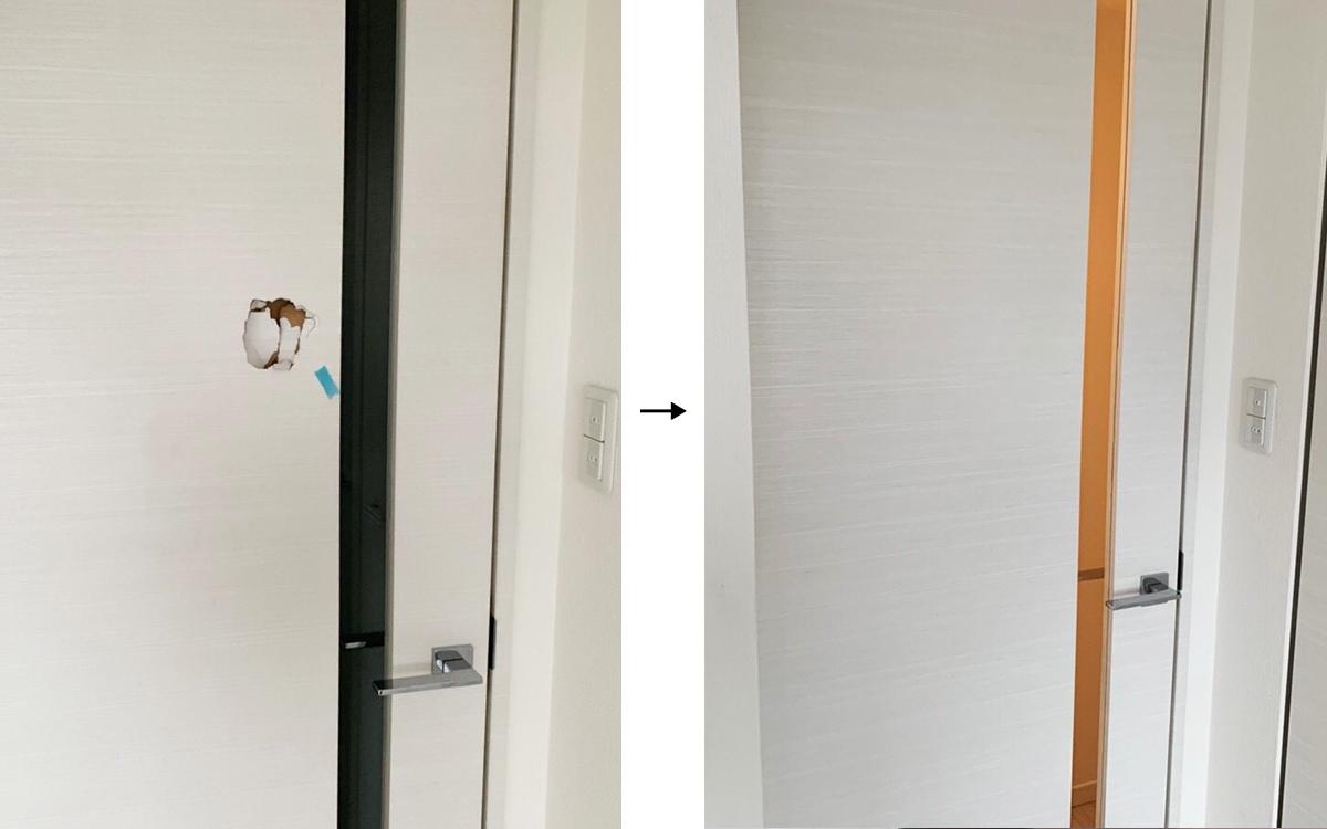 室内ドア-穴-リペア事例