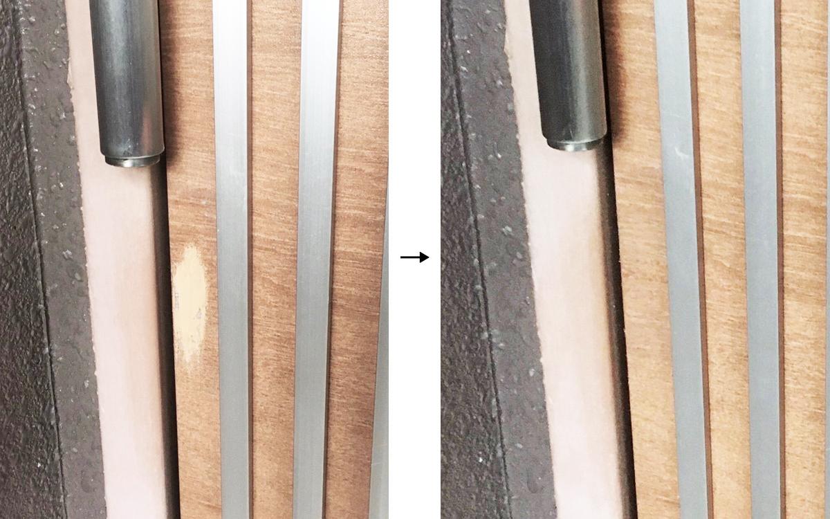 溶剤の色はげの補修事例