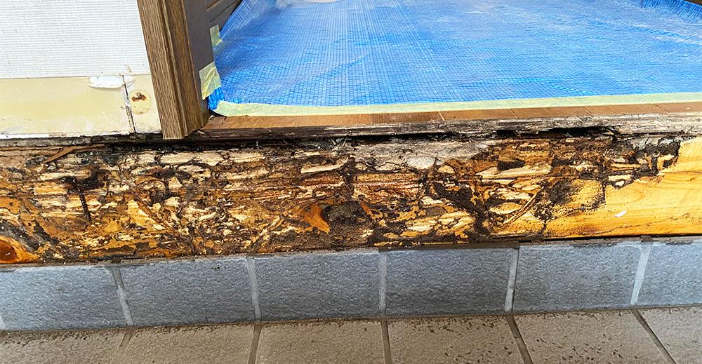 残した框や、大引きにもしっかり下地から防蟻処理を行います