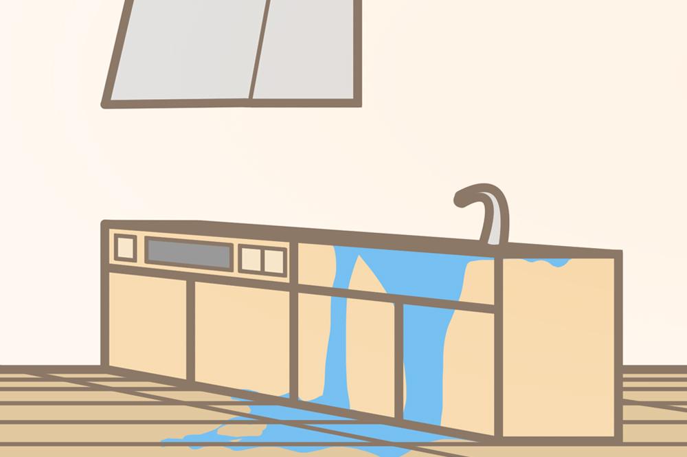 水漏れしたフローリング