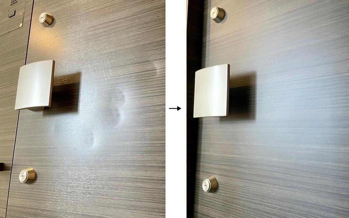 玄関ドア凹み補修 ビフォーアフター