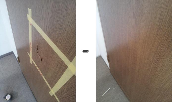 クローセット扉のパンチによる割れ